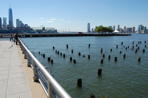 Hudson River Park 'Pier 46', New York, USA - Fishing at the End of the Pier